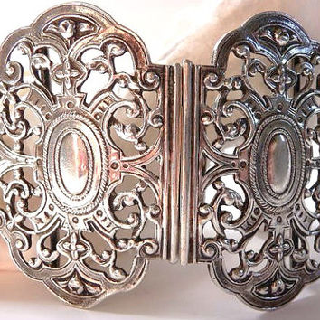 English antique sterling silver belt buckle massive