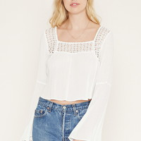 Cutout-Crochet Gauze Top | Forever 21 - 2000186055