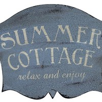 Summer Cottage - Relax and Enjoy - Weathered Vintage Decorative Beach Sign 15-in x 10-in