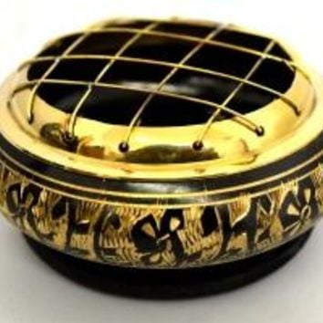 Black Carved Brass Screen Incense Burner
