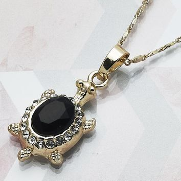 Gold Layered Women Turtle Fancy Necklace, with Black Crystal, by Folks Jewelry