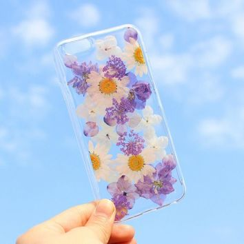 purple petals case 100 handmade dried flowers cover for iphone 7 7plus iphone 6 6s plus gift box b61  number 1
