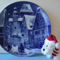 German Christmas Plate Berlin Design Genuine Blue China Made in West Germany Vintage Christmas Gift Hostess Gift Retro Home Decor