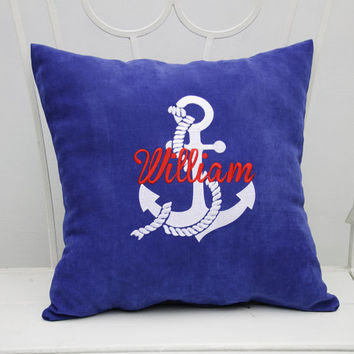 Nautical Pillow Covers Nautical Anchor Custom Pillowcase Personalized Name Monogram Pillow Cover Boy Name Home Decor Throw Pillows Gift V13