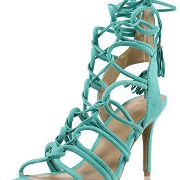 Wild Diva Womens Savvy 09 Gladiator Strappy Lace Up Tie High Heel