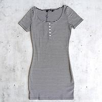 motel rocks - memory ribbed bodycon stripe dress - black and white
