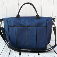 Navy canvas diaper bag Medium tote bag navy blue and black zippered tote bag