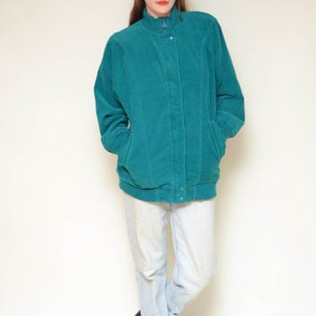 80s TEAL BLUE corduroy spring jacket // flannel plaid lined hipster boyfriend work wear lumberjack chic lightweight zip up coat