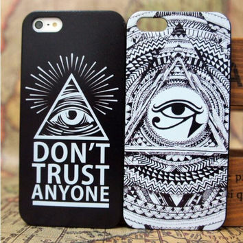 Don't Trust Anyone Eyes Case Cover Evil Eyes Teeth Luxury Hard Cases for Iphone 5 5s 5g Back Cover Case