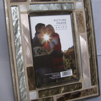 Copper and Glass Photo Frame /  5 x 7 Frame / Silver Frame / Gold Frame /  Unisex Frame /  Metallic Frame
