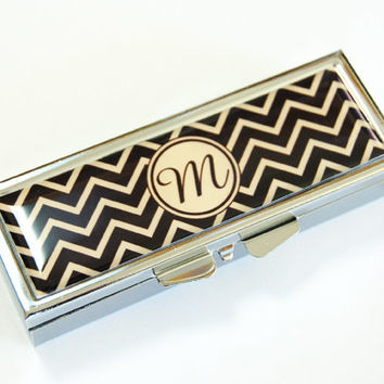 Monogram Pill case, Pill Case, Pill Container, chevron, pill box, rectange pill case, custom, personalized, you select color (2548)