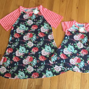 Women and Girl's Flower Dresses Blue/Pink: Girls: 4/6/8/10 Women: M/L/XL/2XL