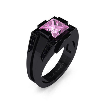 Mens Modern 14k Black Gold 2.0 Carat Princess Light Pink Sapphire Black Diamond Wedding Ring R1020M-14KBGBDLPS