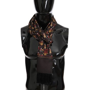 Dolce & Gabbana Brown Silk Music Print Scarf