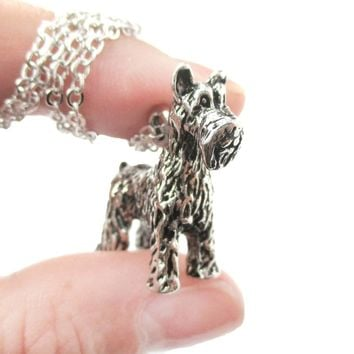 Realistic Schnauzer Puppy Dog Shaped Animal Pendant Necklace in Shiny Silver