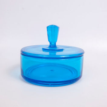 Vintage Turquoise Glass Vanity Powder Jar Candy Dish With Lid Trinket Box Aqua