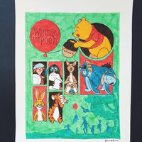 WINNIE the POOH POSTER - Disney Winnie the Pooh characters poster original artwork illustration marker painting walt disneyland disneyworld