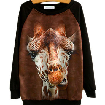 Black Sika Deer Head Print Sweater