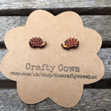 Wooden hedgehog earrings woodland forest - sterling silver posts available
