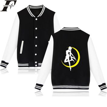 LUCKYFRIDAYF Japan Hot Anime Sailor Moon Funny Baseball Jackets Warm Cotton Winter Female Winter Jacket Women Slim XXS-4XL