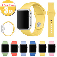 2016 New Silicone Watch Band With Connector Adapter for Apple Watch Band 42mm/38mm Strap For iWatch Sports Buckle Bracelet