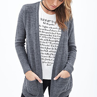 FOREVER 21 Classic Open-Front Cardigan Grey