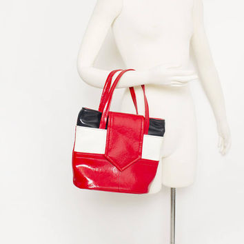 Vintage 1960s Purse - Color Blocked Red White & Blue Vinyl Faux Patent Leather Hand Bag