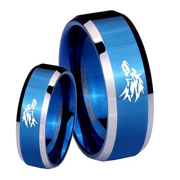 His Her Shiny Blue Bevel Wolf Design Two Tone Tungsten Wedding Rings Set
