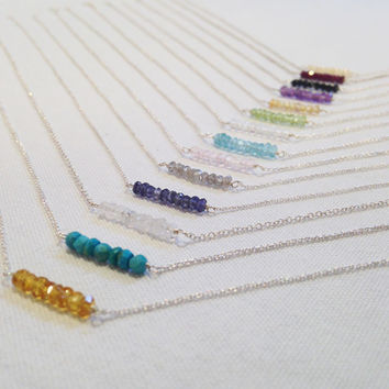 Silver Gem Bar Necklaces
