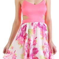 Neon Pink Floral Dress