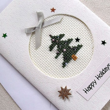 handmade cross stitched Christmas card – Happy Holidays Christmas tree