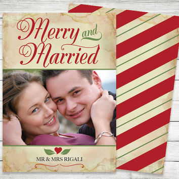 Photo Christmas Cards ~ Printable Merry and Married Picture Card, Modern Holiday Card or Invitation, Vintage Red Green Stripes, Double Sided