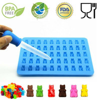 DIY 2017 Fashion Kitchen Tools Mold 1 Set 50 Cavity Silicone Gummy Bear Chocolate Mold Candy Maker Ice Tray Jelly Moulds