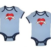 So Relative! 2-Pack Love Aunt  Love Uncle Tattoo Hearts Blue Ringer Baby Infant Short Sleeve Bodysuits