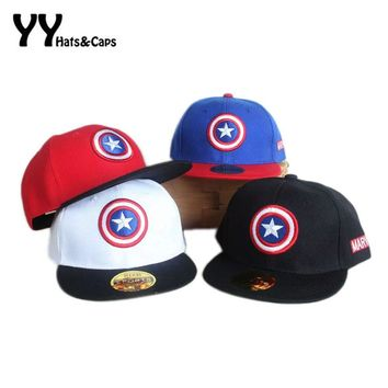 Trendy Winter Jacket Spring Summer Snapback Caps kids Baseball Cap Marvel's The Avengers Captain America Adjustable Bone Snapback Casquette Hat AT_92_12