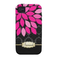 Personalized Pink Black and Gold iPhone Case Vibe Iphone 4 Case from Zazzle.com