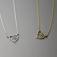 Dove and Heart Necklace -  Available color as listed ( Gold, Silver )