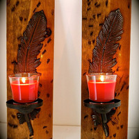 """Distressed Stained Wood and Iron Feather Sconces-Native American- Rustic Sconces-17"""" Tall x 5.5"""" Wide x 5.5"""" Total width- WONT LAST LONG"""