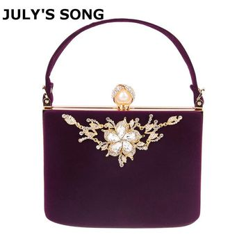 2017 Gold Crystal Flowers Velvet Clutches Bag Party Purse Women Shoulder Bag Diamond Evening Bags Ballot Lock Handbag Clutch Bag