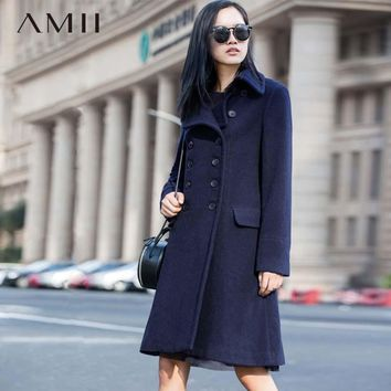 Amii Casual Women Woolen Coat 2018 Winter Solid Slim Fit Double Breasted Turn-down Collar Female Wool Blends