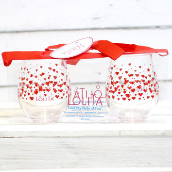 Lolita Red Hot Hearts Acrylic Glasses
