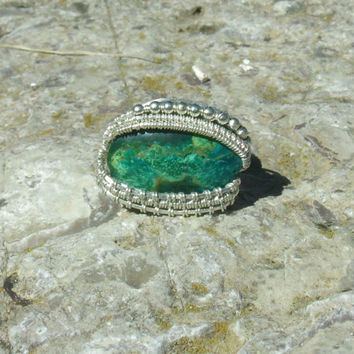 Wire Wrap Ring Chrysocolla Green Blue 925 Sterling Silver Size 7 Handmade Heady Jewelry