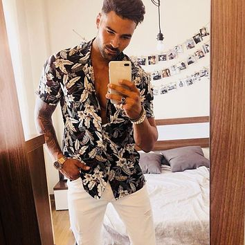 Mens Beach Hawaiian Shirt Summer Fashion Casual Lapel Print Short Sleeve Shirt Loose Top Blouse Button Down Shirts Plus Size