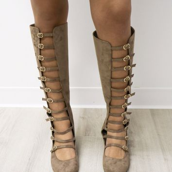 Feeling Good Taupe Buckle Strap Knee High Boots