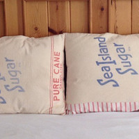 Vintage sugar sack pillow shams, vintage sugar sacks, shabbychic bedding