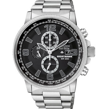 Citizen CA0290-51E Men's Eco-Drive Nighthawk Stainless Steel Chronograph Watch