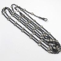 Victorian Muff Chain Crystal Necklace, Gunmetal Bezel Set Open Back Clear Crystal Muff Guard Watch Chain