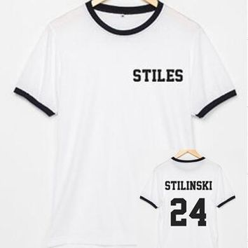 Teen Wolf STILES STILINSKI 24 ringer tees tumblr shirts Cotton tops for women men t shirt graphic tshirts streetwear t-Shirt