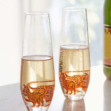 Tiger Stemless Champagne Flute – Set of 2 | Urban Outfitters