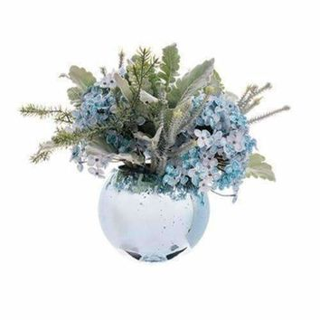 "11"" Winter Light Glittered Blue-Green Silk Hydrangea Flowers Potted in Speckled Glass Bowl"